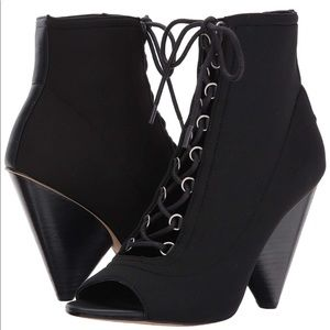 NWT BCBG Peep Toe Lace up Booties